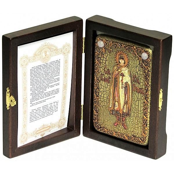 Инкрустированная настольная икона Святой благоверный князь Глеб (10*15 см, Россия) на натуральном мореном дубе, в подарочной коробке