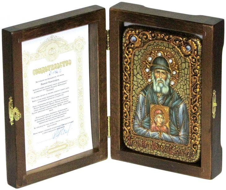Инкрустированная икона Паисий Святогорец (10*15 см, Россия) на натуральном мореном дубе в подарочной коробке