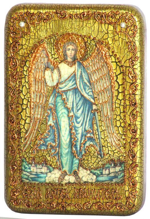 Настольная икона Ангел Хранитель (10*15 см, Россия), инкрустированная жемчугом, в подарочной коробке