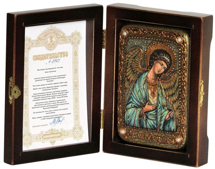 Инкрустированная икона Ангел Хранитель (10*15 см, Россия) на натуральном мореном дубе в подарочной коробке