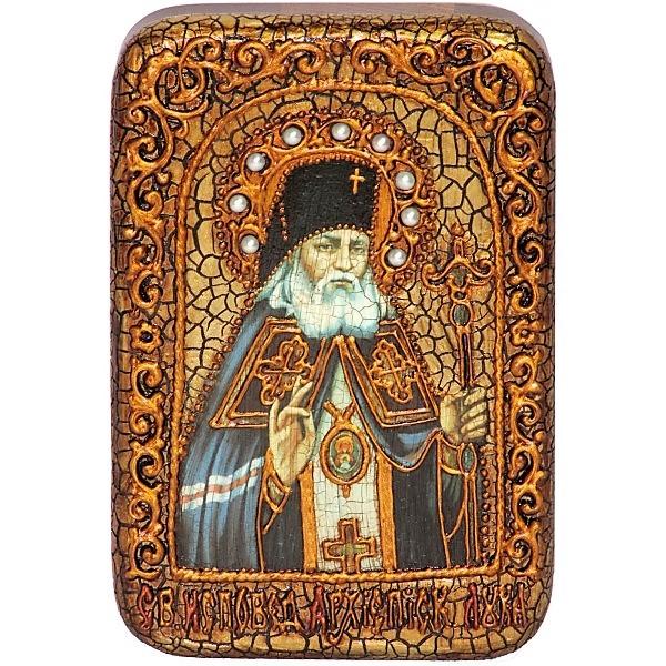 Инкрустированная настольная икона Святитель Лука Симферопольский, архиепископ Крымский (10*15 см, Россия) на натуральном мореном дубе, в подарочной коробке