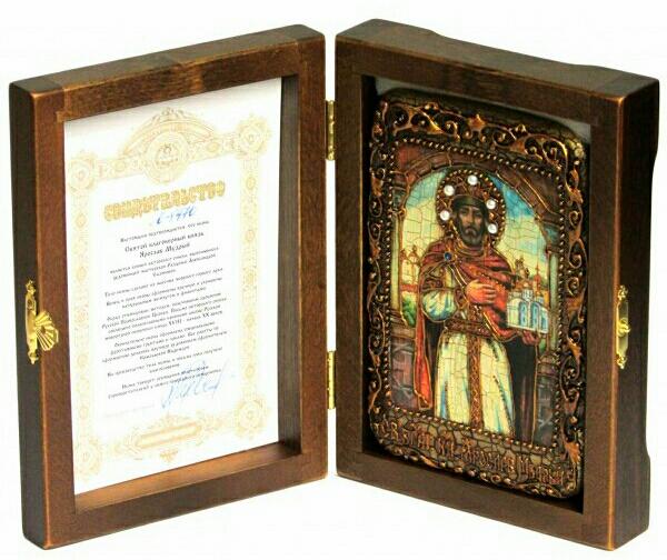 Инкрустированная настольная икона Святой Благоверный князь Ярослав Мудрый (10*15 см, Россия) на натуральном мореном дубе в подарочной коробке