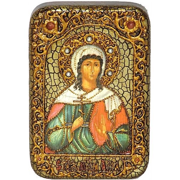 Инкрустированная настольная икона Святая мученица Алла Готфская (10*15 см, Россия) на натуральном мореном дубе, в подарочной коробке