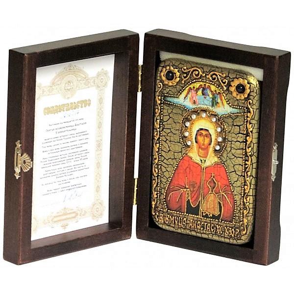 Инкрустированная настольная икона Святая великомученица Анастасия Узорешительница (10*15 см, Россия) на натуральном мореном дубе, в подарочной коробке