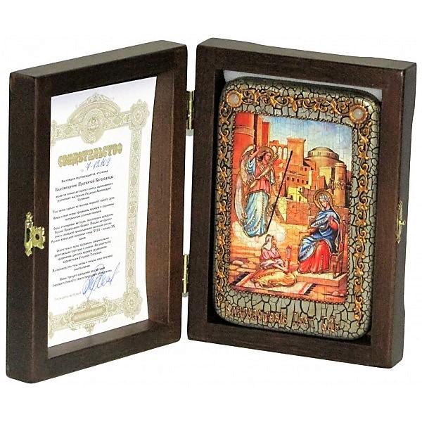 Инкрустированная рукописная икона Благовещение Пресвятой Богородицы (10*15 см, Россия) на натуральном мореном дубе, в подарочной коробке