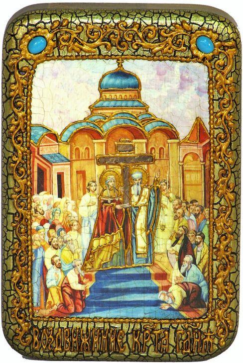 Инкрустированная настольная икона Воздвижение Святого Креста Господня (10*15 см, Россия) на натуральном мореном дубе, в подарочной коробке