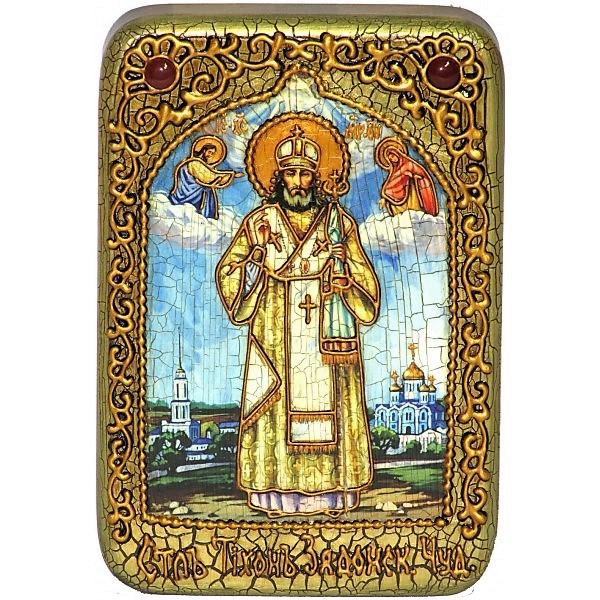 Инкрустированная настольная икона Святитель Тихон Задонский (10*15 см, Россия) на натуральном мореном дубе, в подарочной коробке