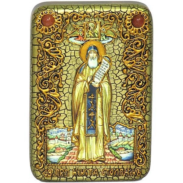 Инкрустированная настольная икона Преподобный Никита Столпник, Переславский чудотворец (10*15 см, Россия) на натуральном мореном дубе, в подарочной коробке