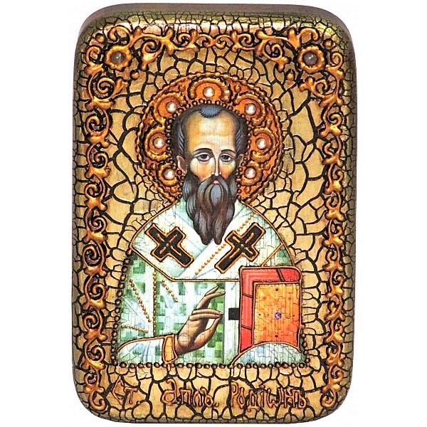 Инкрустированная настольная икона Святой апостол Родион (Иродион), епископ Патрасский (10*15 см, Россия) на натуральном мореном дубе, в подарочной коробке