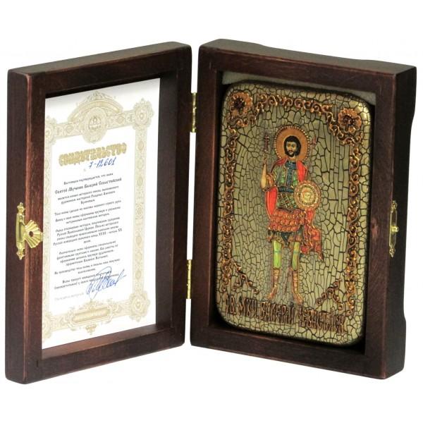 Инкрустированная настольная икона Святой мученик Валерий Севастийский (10*15 см, Россия) на натуральном мореном дубе, в подарочной коробке