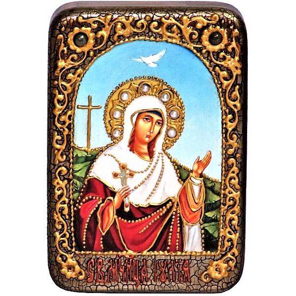 Инкрустированная настольная икона Святая мученица Иулия (Юлия) Карфагенская (10*15 см, Россия) на натуральном мореном дубе, в подарочной коробке