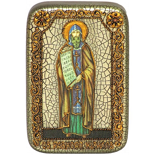 Инкрустированная настольная икона Святой равноапостольный Кирилл Философ (10*15 см, Россия) на натуральном мореном дубе, в подарочной коробке