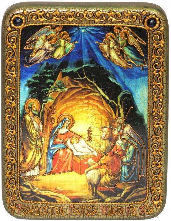 "Подарочная икона ""Рождество Господа Бога и Спаса нашего Иисуса Христа"" на мореном дубе"