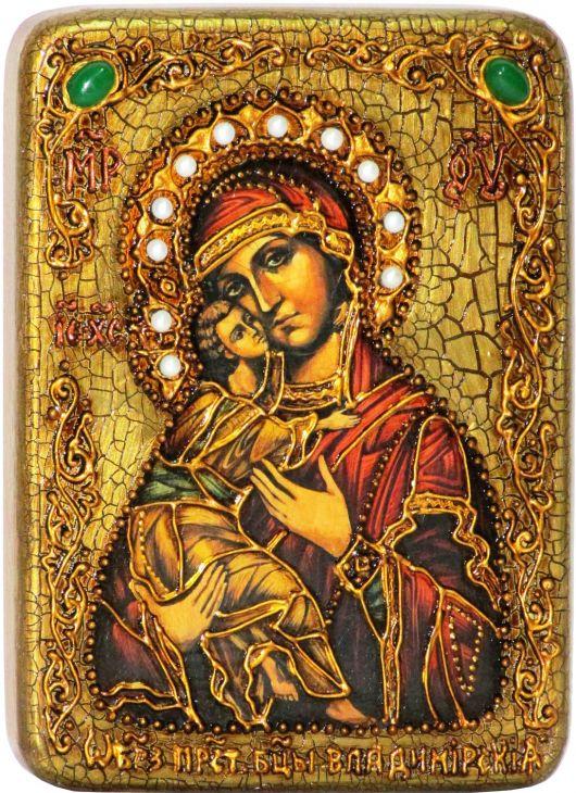 Инкрустированная подарочная икона Образ Божией Матери Владимирской  (15*20 см, Россия) на натуральном мореном дубе в подарочной коробке