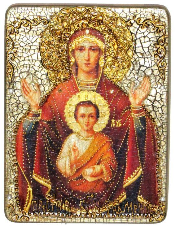 Инкрустированная подарочная икона Образ Божией Матери Знамение (15*20 см, Россия) на натуральном мореном дубе в подарочной коробке