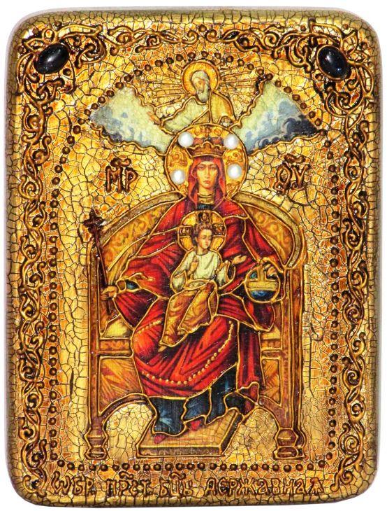 Инкрустированная подарочная икона Образ Божией Матери Державная (15*20 см, Россия) на натуральном мореном дубе в подарочной коробке