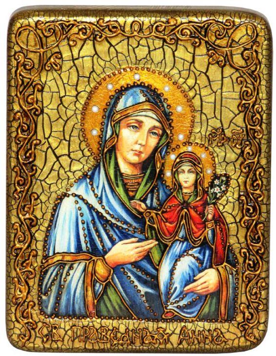 Инкрустированная подарочная икона Святая праведная Анна, мать Пресвятой Богородицы (15*20 см, Россия) на натуральном мореном дубе в подарочной коробке