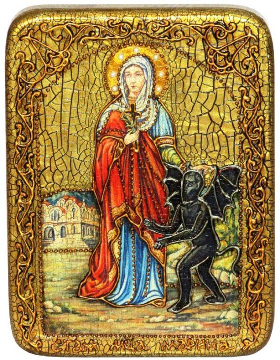 Инкрустированная подарочная икона Святая великомученица Марина (Маргарита) Антиохийская (15*20 см, Россия) на натуральном мореном дубе в подарочной коробке