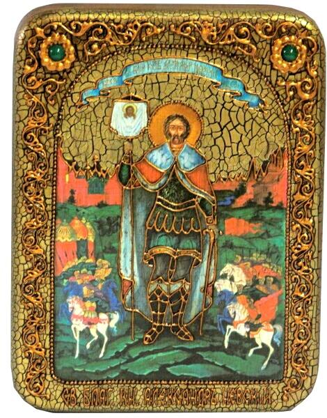 Инкрустированная подарочная икона Святой благоверный князь Александр Невский (15*20 см, Россия) на натуральном мореном дубе в подарочной коробке