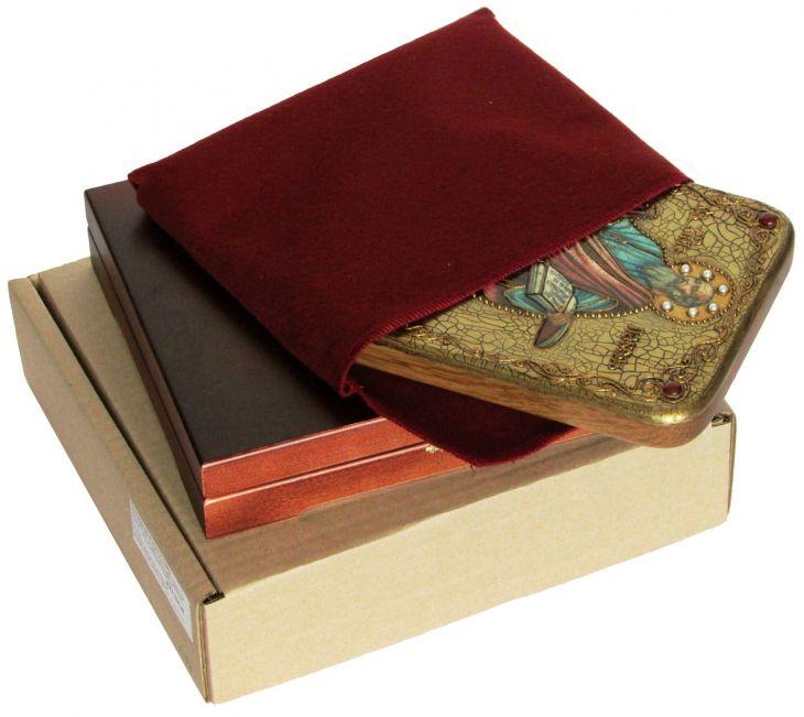 Инкрустированная подарочная икона Первоверховный апостол Павел (15*20 см, Россия) на натуральном мореном дубе в подарочной коробке