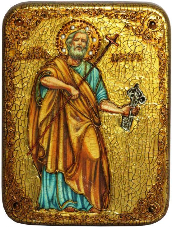 Инкрустированная подарочная икона Первоверховный апостол Петр (15*20 см, Россия) на натуральном мореном дубе в подарочной коробке