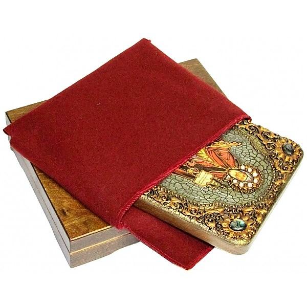Инкрустированная подарочная икона Святой благоверный князь Даниил Московский (15*20 см, Россия) на натуральном мореном дубе, в подарочной коробке
