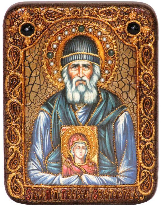 Инкрустированная икона Паисий Святогорец (15*20 см, Россия) на натуральном мореном дубе в подарочной коробке