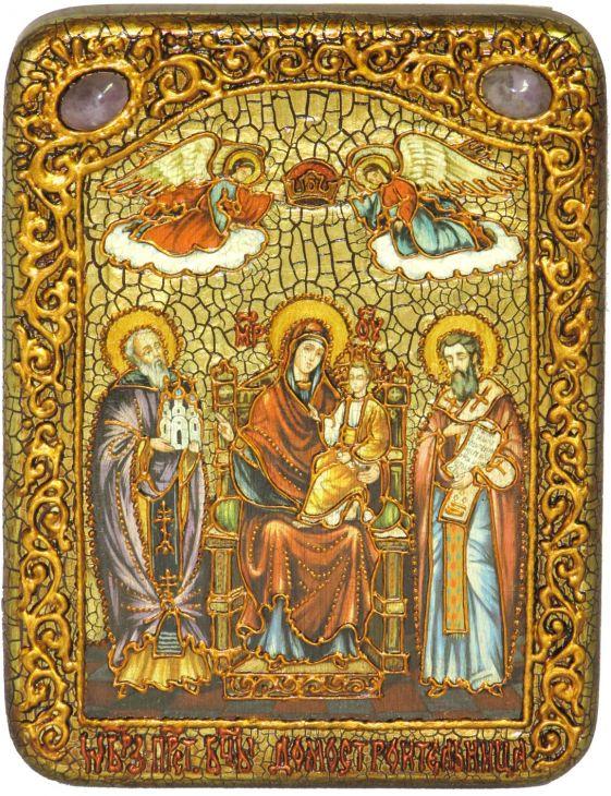 Подарочная икона Божией Матери «Пресвятой Богородицы «Экономисса (Домостроительница)» на мореном дубе