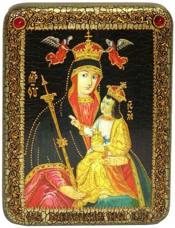 Подарочная икона Божией Матери «Белыничская» на мореном дубе
