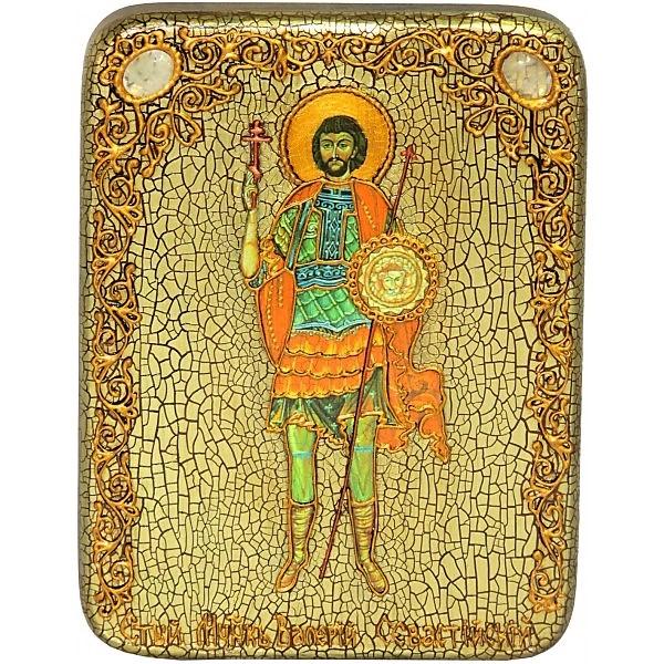 Инкрустированная настольная икона Святой мученик Валерий Севастийский (15*20 см, Россия) на натуральном мореном дубе, в подарочной коробке
