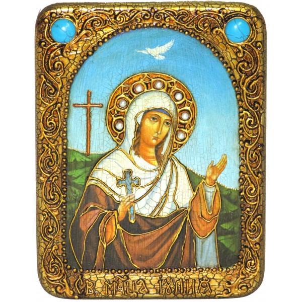 Инкрустированная настольная икона Святая мученица Иулия (Юлия) Карфагенская (15*20 см, Россия) на натуральном мореном дубе, в подарочной коробке