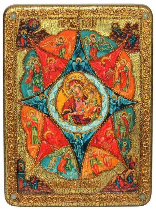 Инкрустированная аналойная икона Образ Божией Матери Неопалимая купина (21*29 см, Россия) на натуральном мореном дубе в подарочной коробке