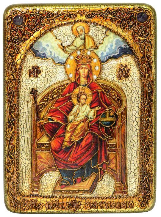Инкрустированная аналойная икона Образ Божией Матери Державная (21*29 см, Россия) на натуральном мореном дубе в подарочной коробке