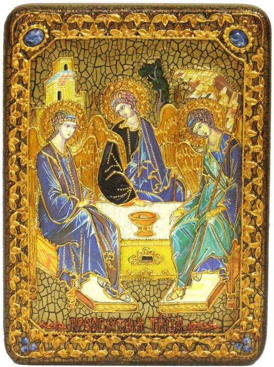Инкрустированная аналойная икона Троица (21*29 см, Россия) на натуральном мореном дубе в подарочной коробке