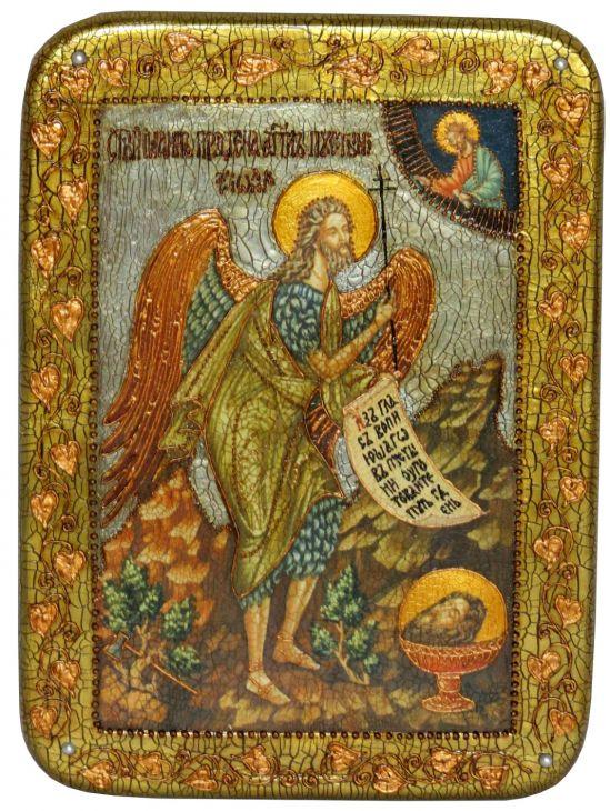 Инкрустированная аналойная икона Пророк и Креститель Иоанн Предтеча (21*29 см, Россия) на натуральном мореном дубе в подарочной коробке