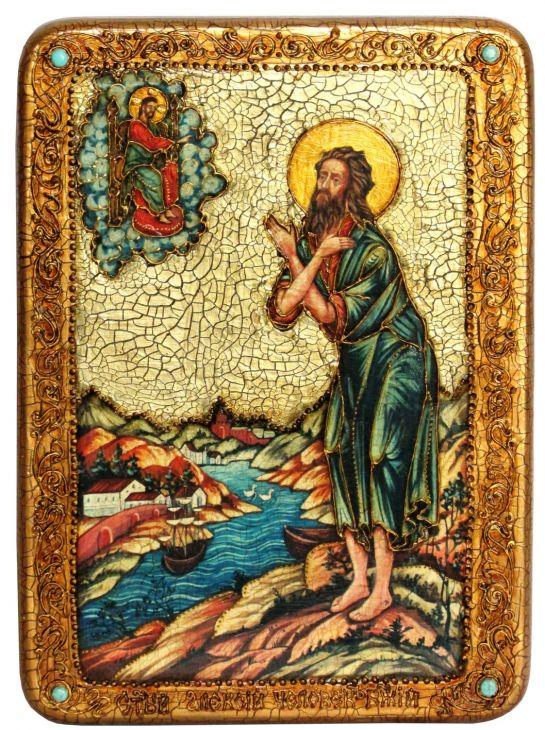 Инкрустированная аналойная икона Преподобный Алексий, человек Божий (21*29 см, Россия) на натуральном мореном дубе в подарочной коробке
