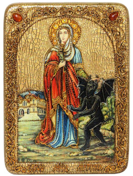 Инкрустированная аналойная икона Святая великомученица Марина (Маргарита) Антиохийская (21*29 см, Россия) на натуральном мореном дубе в подарочной коробке