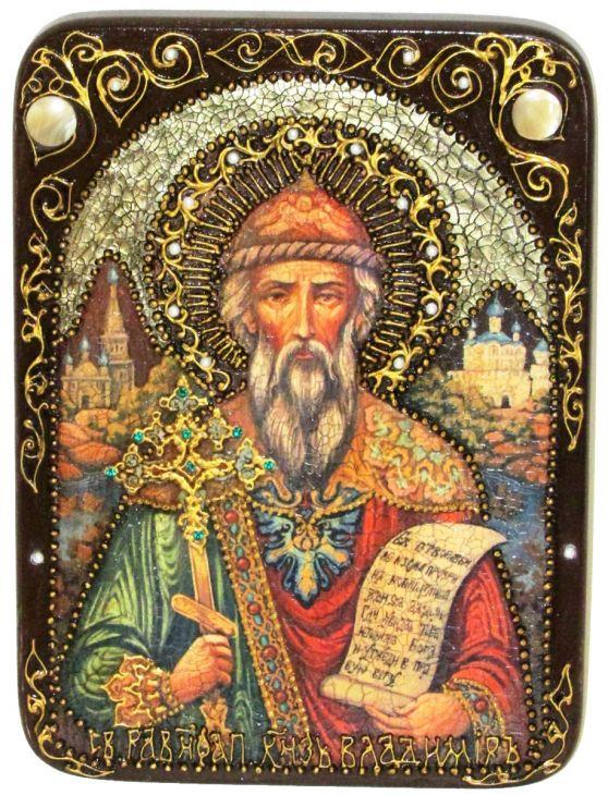 Инкрустированная аналойная икона Святой равноапостольный князь Владимир (21*29 см, Россия) на натуральном мореном дубе в подарочной коробке