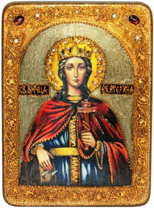 Инкрустированная аналойная икона Святая великомученица Екатерина (21*29 см, Россия) на натуральном мореном дубе в подарочной коробке
