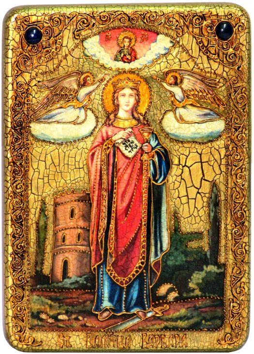 Инкрустированная аналойная икона Святая великомученица Варвара Илиопольская (21*29 см, Россия) на натуральном мореном дубе в подарочной коробке