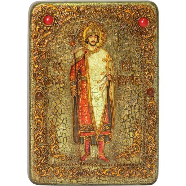 Инкрустированная аналойная икона Святой благоверный князь Борис (21*29 см, Россия) на натуральном мореном дубе, в подарочной коробке