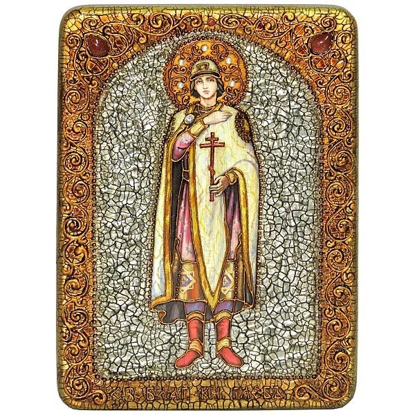 Инкрустированная аналойная икона Святой благоверный князь Глеб (21*29 см, Россия) на натуральном мореном дубе, в подарочной коробке