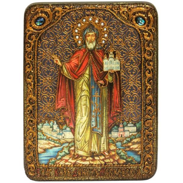 Инкрустированная аналойная икона Святой благоверный князь Даниил Московский (21*29 см, Россия) на натуральном мореном дубе, в подарочной коробке