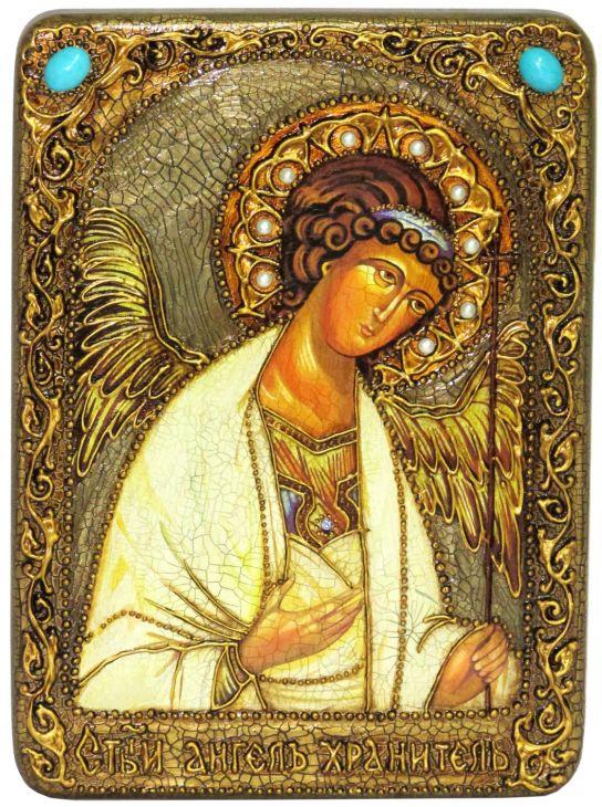 """Подарочная икона """"Ангел Хранитель"""" на мореном дубе"""