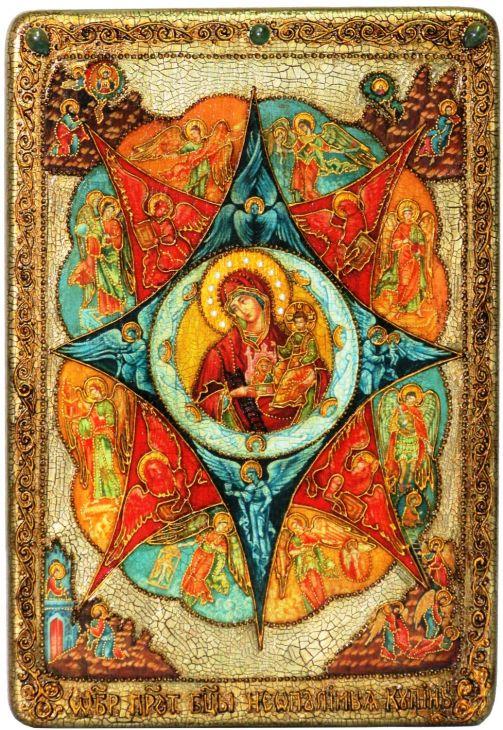 Инкрустированная большая икона Образ Божией матери Неопалимая купина (29*42 см, Россия) на натуральном мореном дубе в подарочной коробке