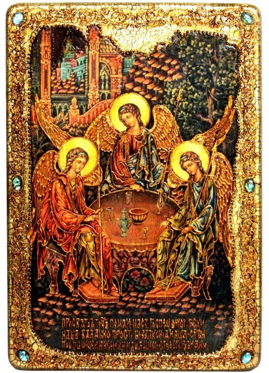 Инкрустированная большая икона Троица (29*42 см, Россия) на натуральном мореном дубе в подарочной коробке