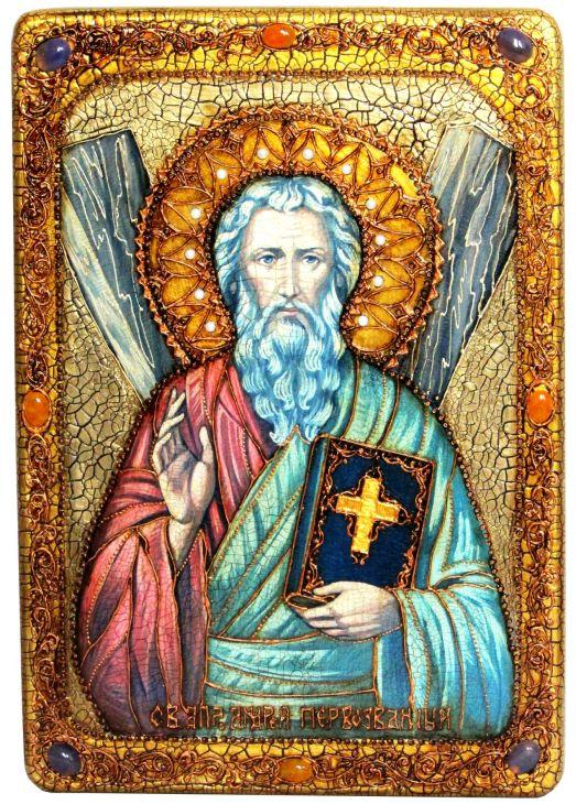 Инкрустированная большая икона Святой апостол Андрей Первозванный (29*42 см, Россия) на натуральном мореном дубе в подарочной коробке