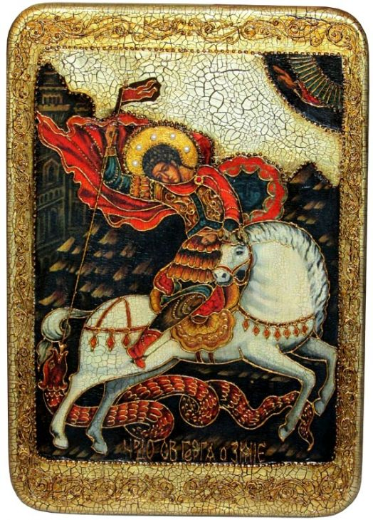 Инкрустированная большая икона Чудо святого Георгия о змие (29*42 см, Россия) на натуральном мореном дубе в подарочной коробке