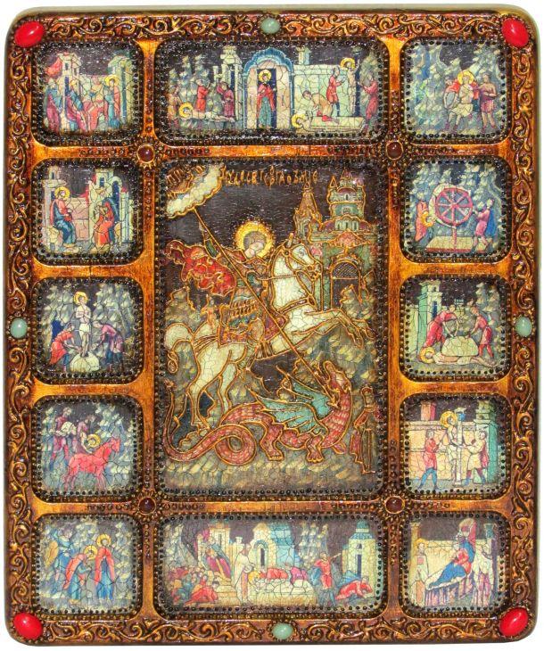 Подарочная икона Чудо святого Георгия о змие (30*37 см, Россия) с житийными клеймами на мореном дубе