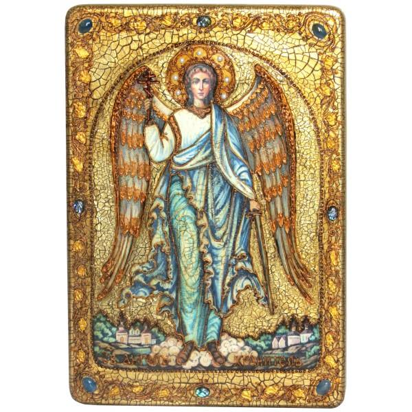 Инкрустированная большая икона Ангел Хранитель (29*42 см, Россия) на натуральном мореном дубе в подарочной коробке